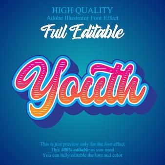 Nowoczesny skrypt młodzieżowy edytowalny efekt czcionki typografii