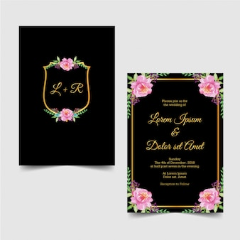Nowoczesny ślub zaproszenie złoty kwiat akwarela