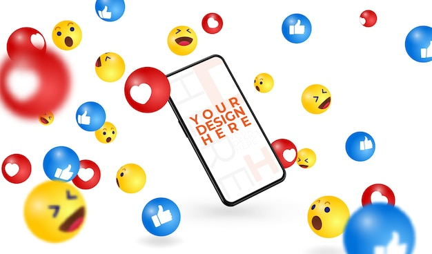 Nowoczesny smartfon napisz tutaj swój projekt, darmową ramkę i spadającą ilustrację emoji z mediów społecznościowych.