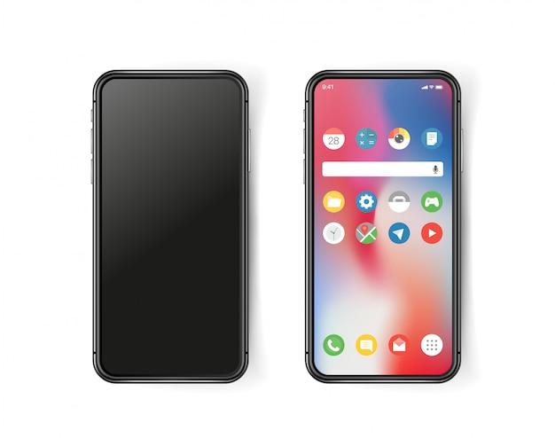 Nowoczesny smartfon, próbka na ekranie i poza nim