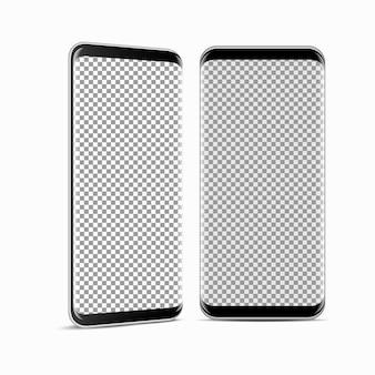 Nowoczesny smartfon w realistycznym stylu, rama telefonu komórkowego z pustym wyświetlaczem