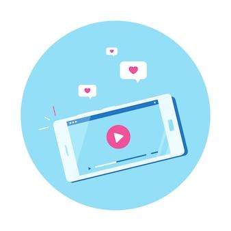 Nowoczesny smartfon z odtwarzaczem wideo online na ekranie. mobilne przesyłanie strumieniowe, podcast na żywo, mobilne wideo