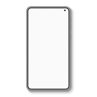 Nowoczesny smartfon z pustym ekranem na białym tle. telefon komórkowy.