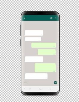 Nowoczesny smartfon z pustym interfejsem czatu