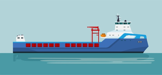 Nowoczesny statek towarowy na morzu. ilustracja płaski.