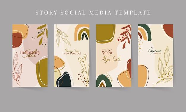 Nowoczesny streszczenie ręcznie rysowane organiczny szablon historii mediów społecznościowych z tonem ziemi