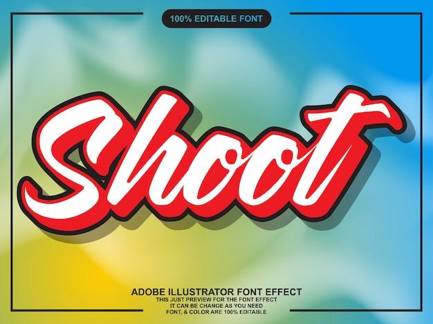 Nowoczesny strzelać skrypt edytowalny efekt czcionki typografii