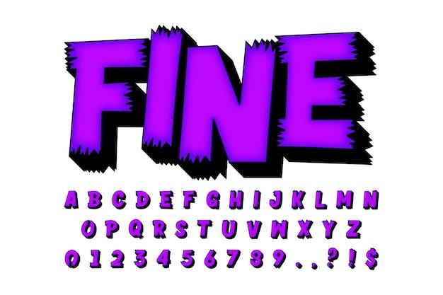 Nowoczesny styl alfabetu kreskówek