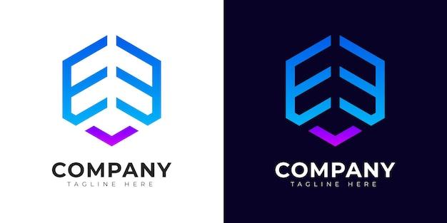 Nowoczesny styl gradientu początkowej litery e szablon projektu logo