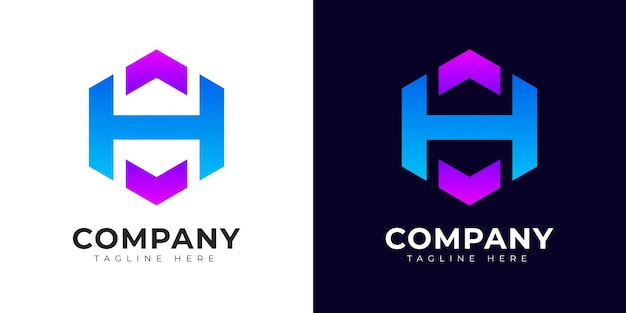 Nowoczesny styl gradientu początkowej litery h szablon projektu logo