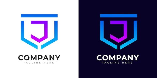 Nowoczesny styl gradientu początkowej litery j szablon projektu logo