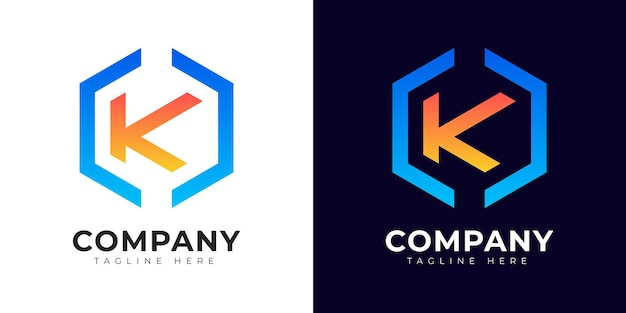 Nowoczesny styl gradientu początkowej litery k szablon projektu logo