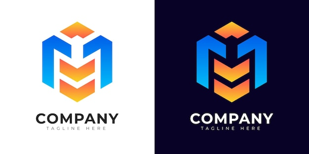 Nowoczesny styl gradientu początkowej litery m szablon projektu logo