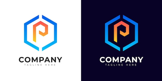 Nowoczesny styl gradientu początkowej litery p szablon projektu logo