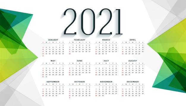 Nowoczesny styl kalendarza nowy rok 2021 w geometrycznym stylu