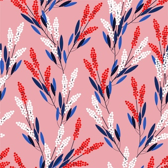 Nowoczesny styl łąka kwiaty bez szwu wzór w wektor wzór dla mody, tkaniny, grafiki, tapety
