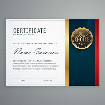 Nowoczesny styl premii certyfikat szablonu projektu