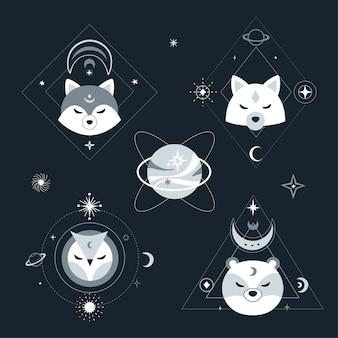 Nowoczesny styl skandynawski ze zwierzętami, gwiazdami, planetami i geometrycznymi kształtami. srebrna kompozycja na tle ciemnej przestrzeni. ilustracja.