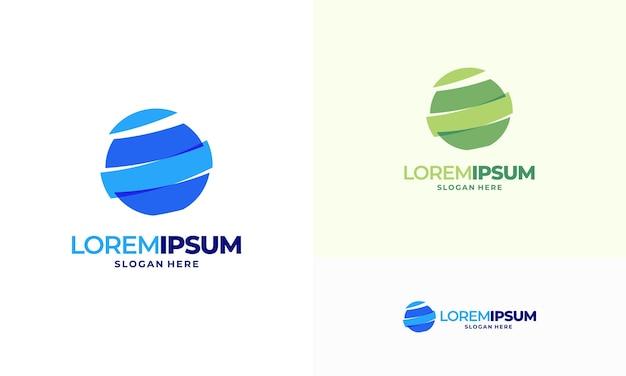 Nowoczesny świat globalnej technologii szablon wektor logo, symbol internetu, koncepcja ikona logo planety