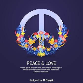 Nowoczesny symbol pokoju w stylu kwiatowym