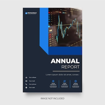 Nowoczesny szablon broszury biznesowej z abstrakcyjnymi niebieskimi kształtami