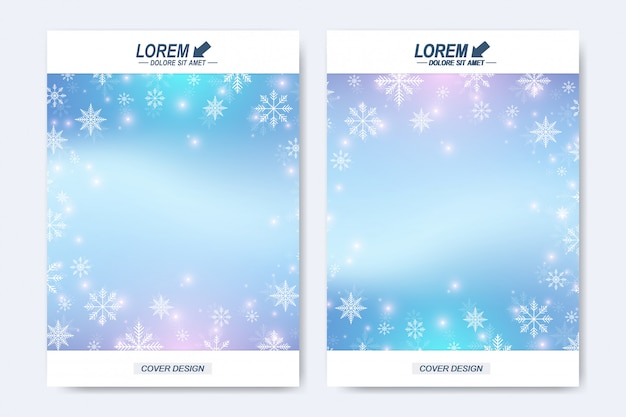 Nowoczesny szablon broszury, ulotki, okładki, magazynu lub raportu rocznego. układ świąteczny i szczęśliwego nowego roku w formacie a4. zimowe tło z płatki śniegu.