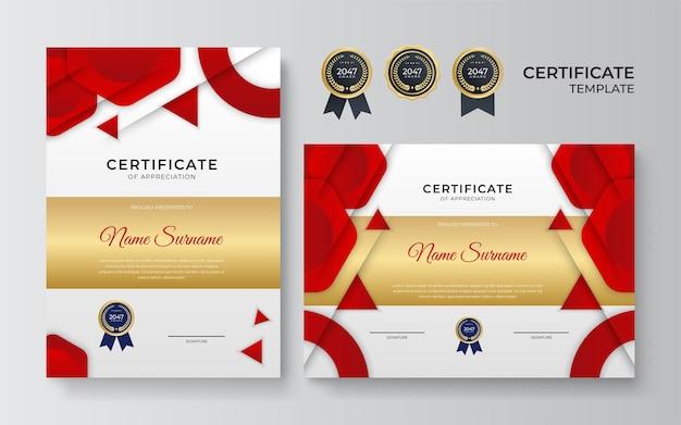 Nowoczesny szablon certyfikatu. dyplom luksusowego projektu lub bon upominkowy. ilustracja wektorowa w kolorze czerwonym i złotym motywem