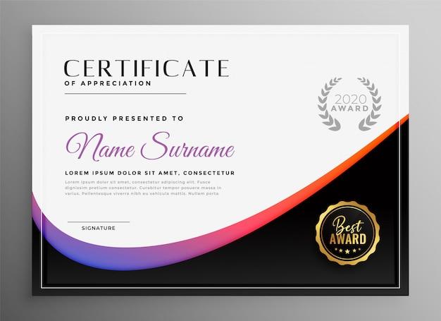 Nowoczesny szablon certyfikatu dyplomowego do uniwersalnego użytku