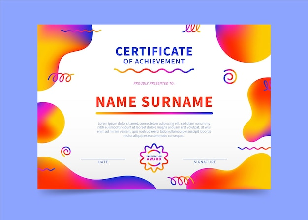 Nowoczesny szablon certyfikatu gradientu
