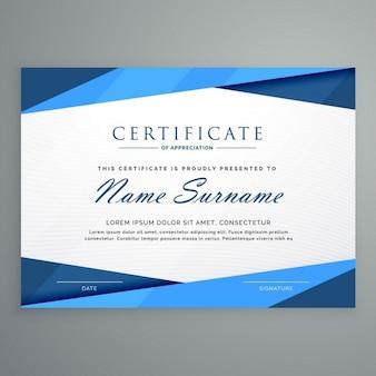 Nowoczesny szablon certyfikatu niebieski trójkąt