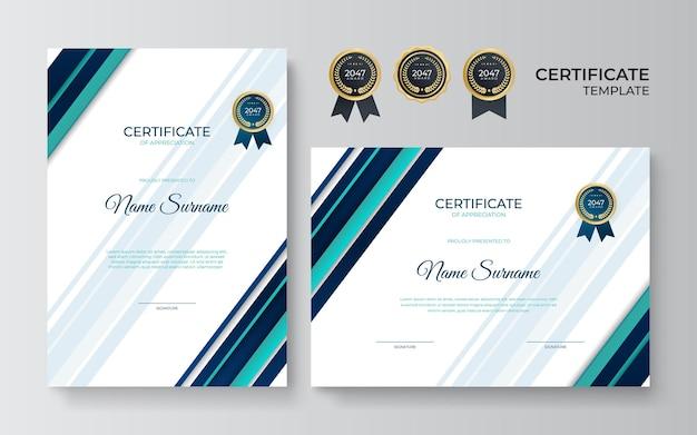 Nowoczesny szablon certyfikatu niebieski zielony z luksusowym i nowoczesnym wzorem, dyplom. ilustracja wektorowa