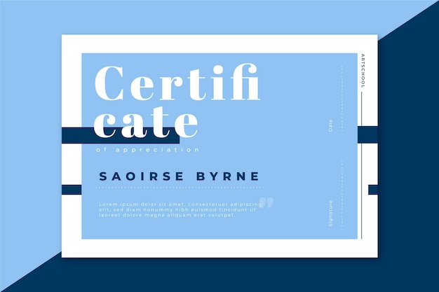 Nowoczesny szablon certyfikatu w niebieskich odcieniach