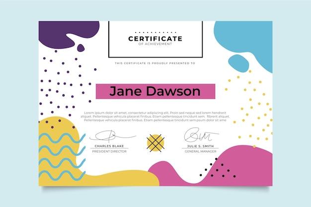 Nowoczesny szablon certyfikatu w stylu memphis