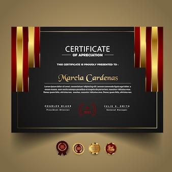 Nowoczesny szablon certyfikatu z czerwonymi kształtami