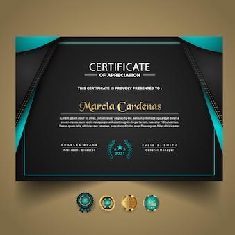 Nowoczesny szablon certyfikatu z luksusowym designem