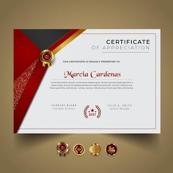 Nowoczesny szablon certyfikatu z projektem