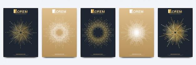 Nowoczesny szablon dla broszury ulotka ulotka reklamowa, okładka magazynu, katalog lub raport roczny. złoty układ w formacie a4. projektowanie biznesowe, naukowe i technologiczne. prezentacja ze złotą mandalą.