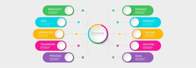 Nowoczesny szablon infografiki 3d z 10 krokami do sukcesu
