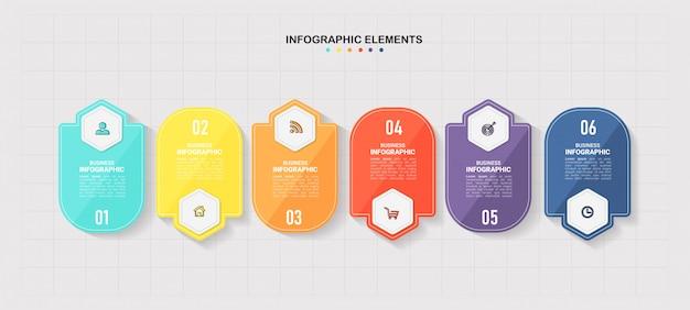 Nowoczesny szablon infografiki 6 opcji.