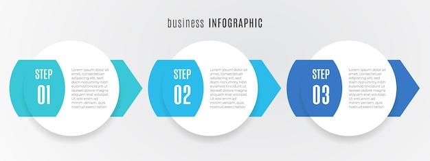 Nowoczesny szablon infografiki osi czasu 3 kroki