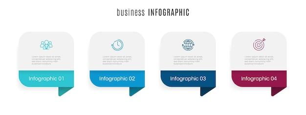 Nowoczesny szablon infografiki osi czasu 4 kroki