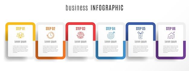 Nowoczesny szablon infografiki osi czasu 6 kroków