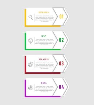 Nowoczesny szablon infografiki z 4 opcjami, krokiem, projektem szablonu numerycznego