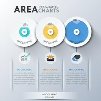 Nowoczesny szablon infografiki z kręgów papieru