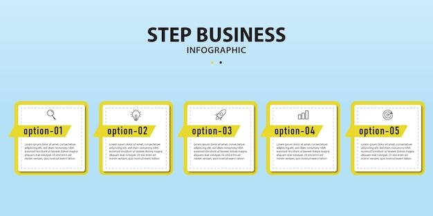 Nowoczesny szablon infografiki z opcją numer przepływu pracy w czterech krokach
