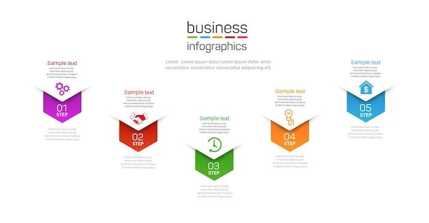 Nowoczesny szablon infografiki z pięcioma krokami dla biznesu