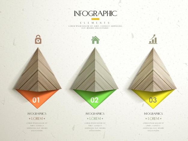 Nowoczesny szablon infografiki z trójkątnymi drewnianymi elementami
