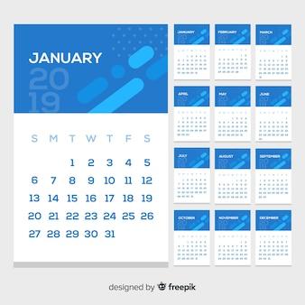 Nowoczesny szablon kalendarza 2019