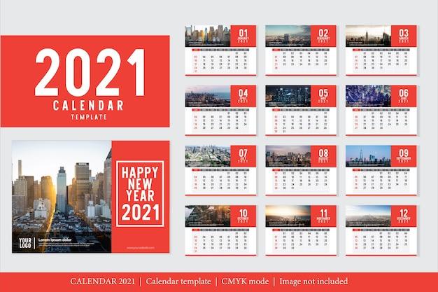 Nowoczesny szablon kalendarza 2021