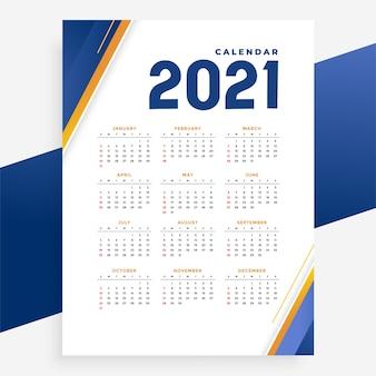 Nowoczesny szablon kalendarza na nowy rok